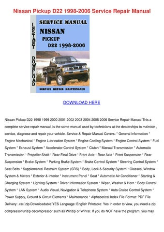 nissan pickup d22 1998 2006 service repair ma by justingrover issuu rh issuu com Nissan Terrano 2015 1996 Nissan Terrano