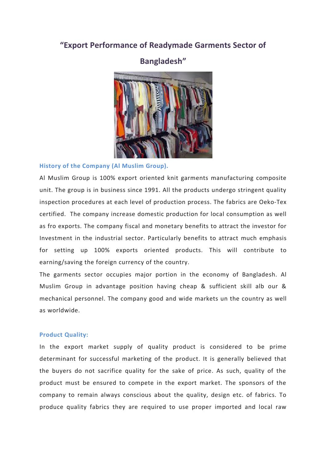Export performance of readymade garments sector of