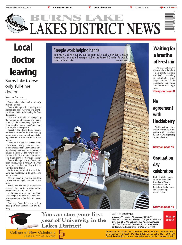 Burns Lake Lakes District News, June 12, 2013 by Black Press Media Group -  issuu