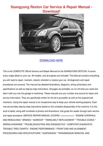 ssangyong rexton car service repair manual do by charlesbray issuu rh issuu com SsangYong Actyon SsangYong Actyon