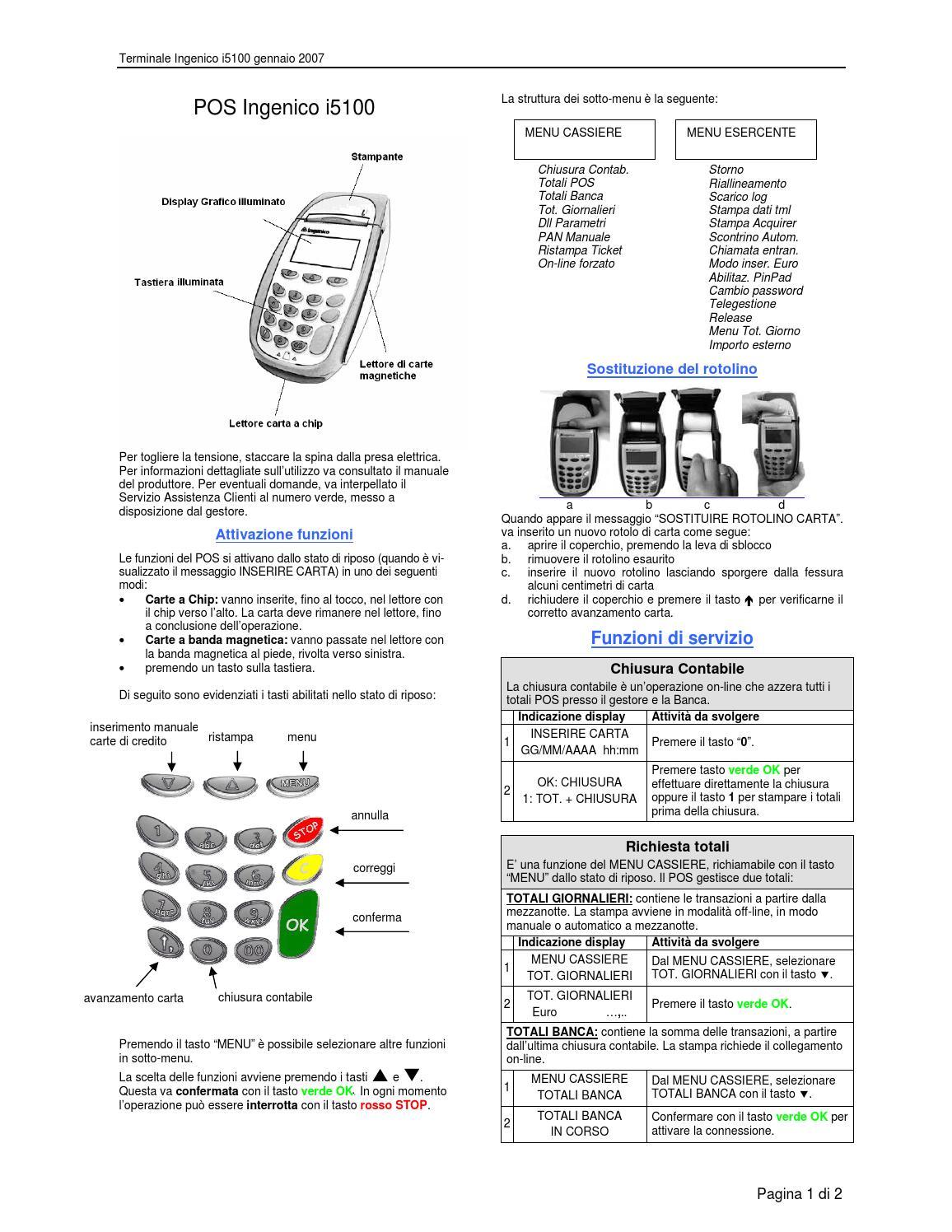 Ingenico I5100 Manuale Istruzioni