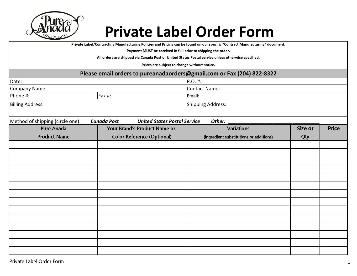 Private Label Order Form By Pure Anada Cosmetics   Issuu