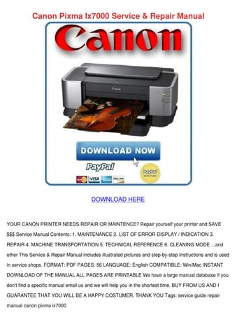 canon pixma ix7000 service repair manual by agnesvictor issuu rh issuu com Canon MP830 Ink Canon MP830 Ink