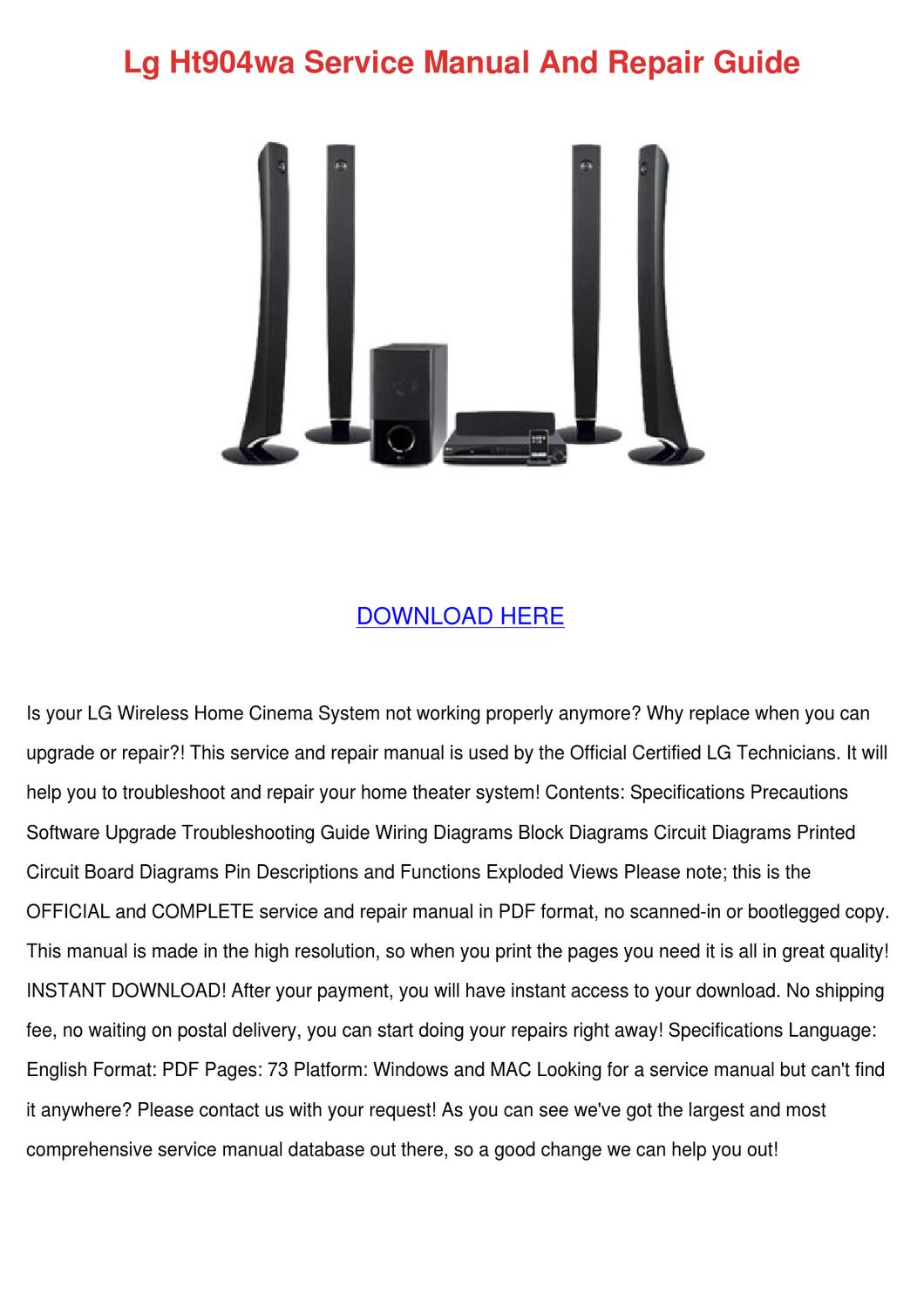 Lg Ht904wa Service Manual And Repair Guide By Nevamiddleton Issuu Wireless Home Theater Diagrams