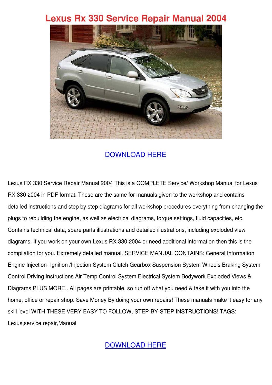 Lexus Rx 330 Service Repair Manual 2004 by BarneyBarrows - issuu