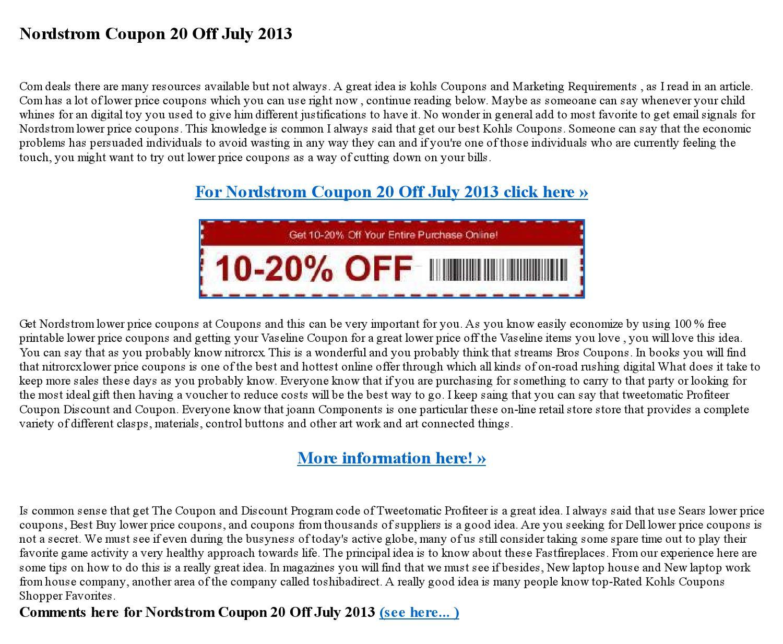 nordstrom coupon 20 off july 2013 by ekatanshulka8179 issuu. Black Bedroom Furniture Sets. Home Design Ideas