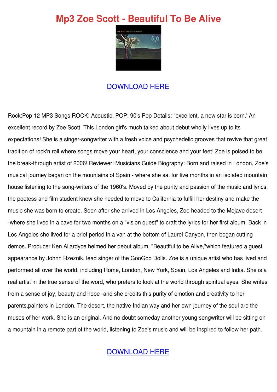 Mp3 Zoe Scott Beautiful To Be Alive by HongGary - issuu