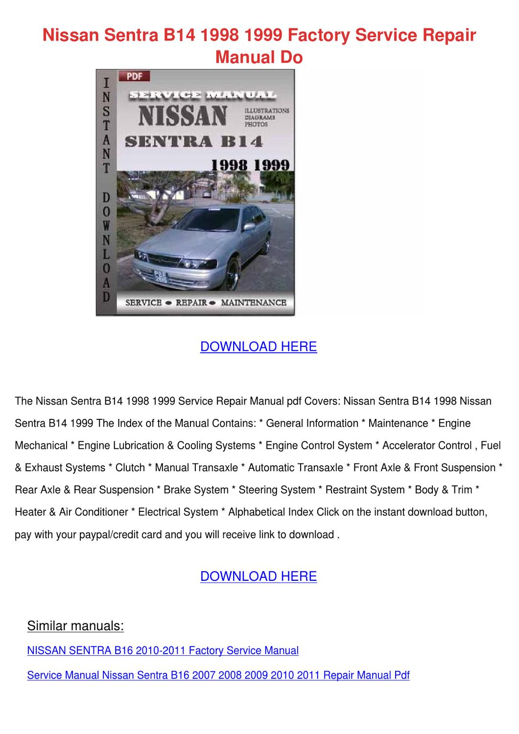 2011 Nissan Cube Service Repair Manual Software Auto Electrical 2010 Sentra Engine Diagram B14 1998 1999 Factory R By