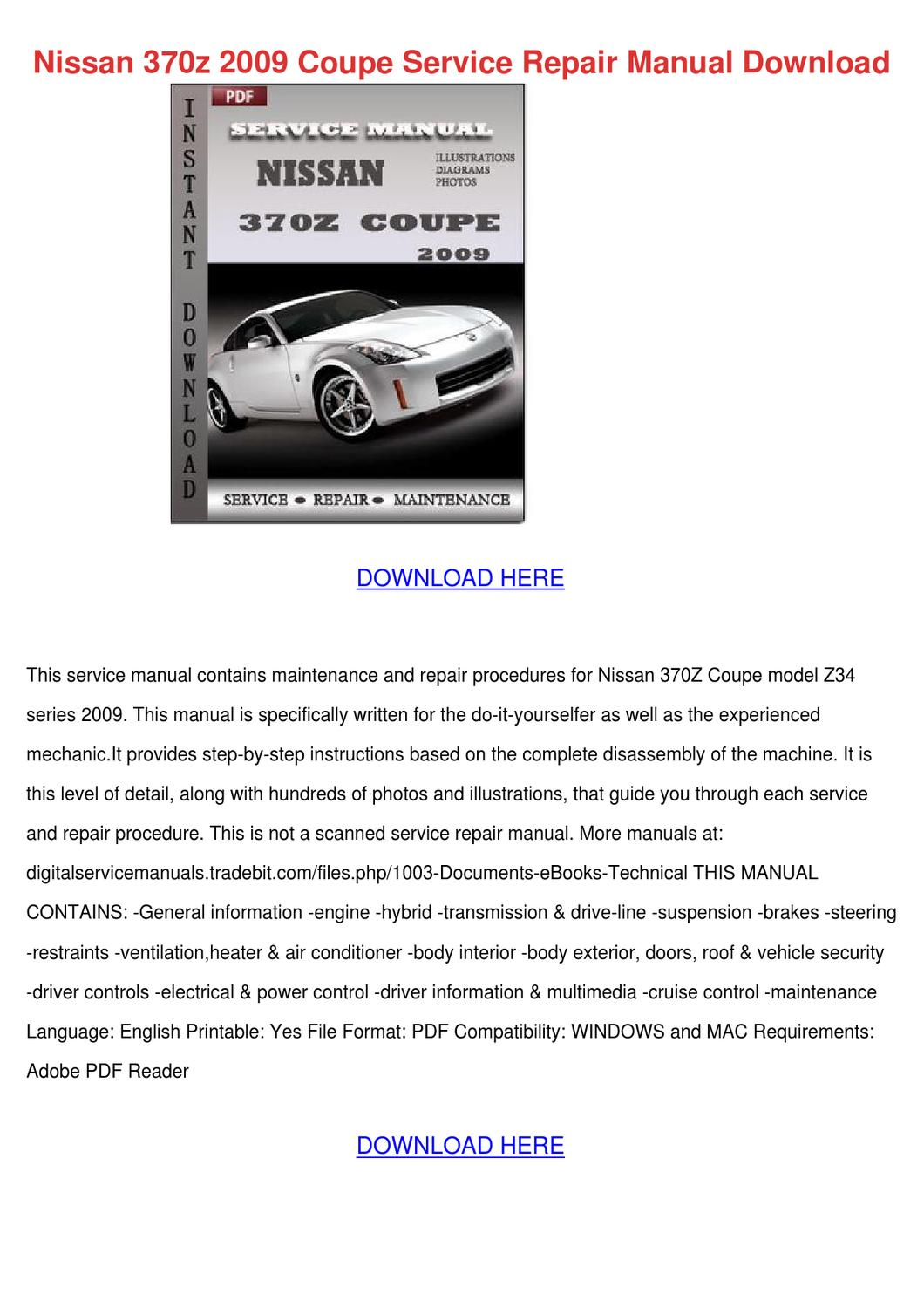 Nissan 370z 2009 Coupe Service Repair Manual By Honggary Issuu Td27 Engine Pdf