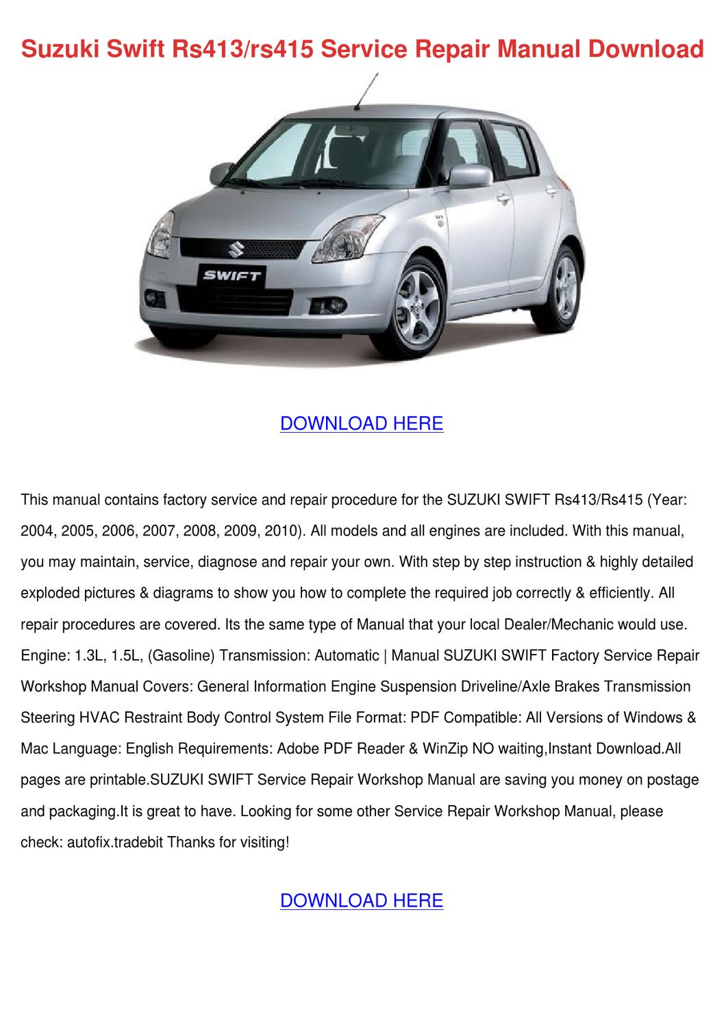 Suzuki Swift Rs413rs415 Service Repair Manual By Ronnyreis