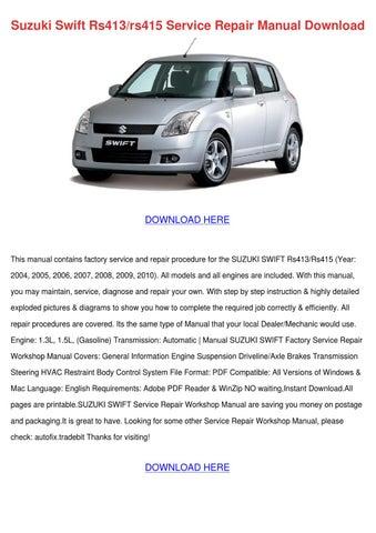 Suzuki Swift Rs413rs415 Service Repair Manual by RonnyReis - issuu