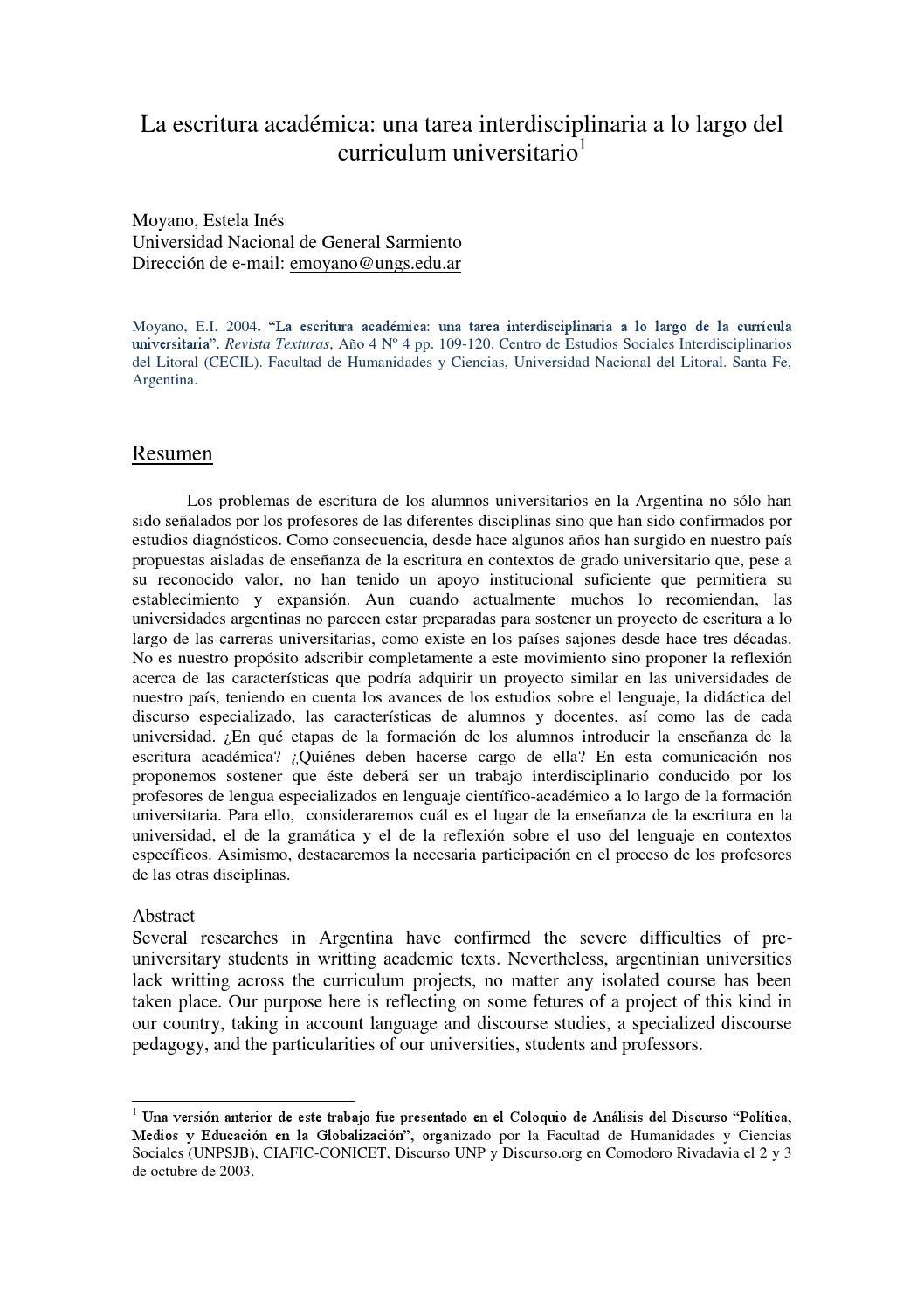 Moyano 2004 la escritura academica by Grupo de Apoyo a Cursos ...