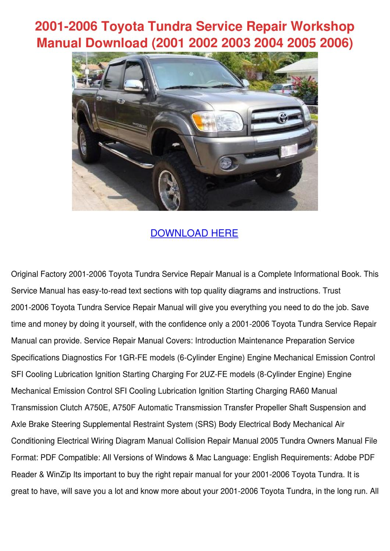 2001 2006 Toyota Tundra Service Repair Worksh by ElviraDelgadillo ...