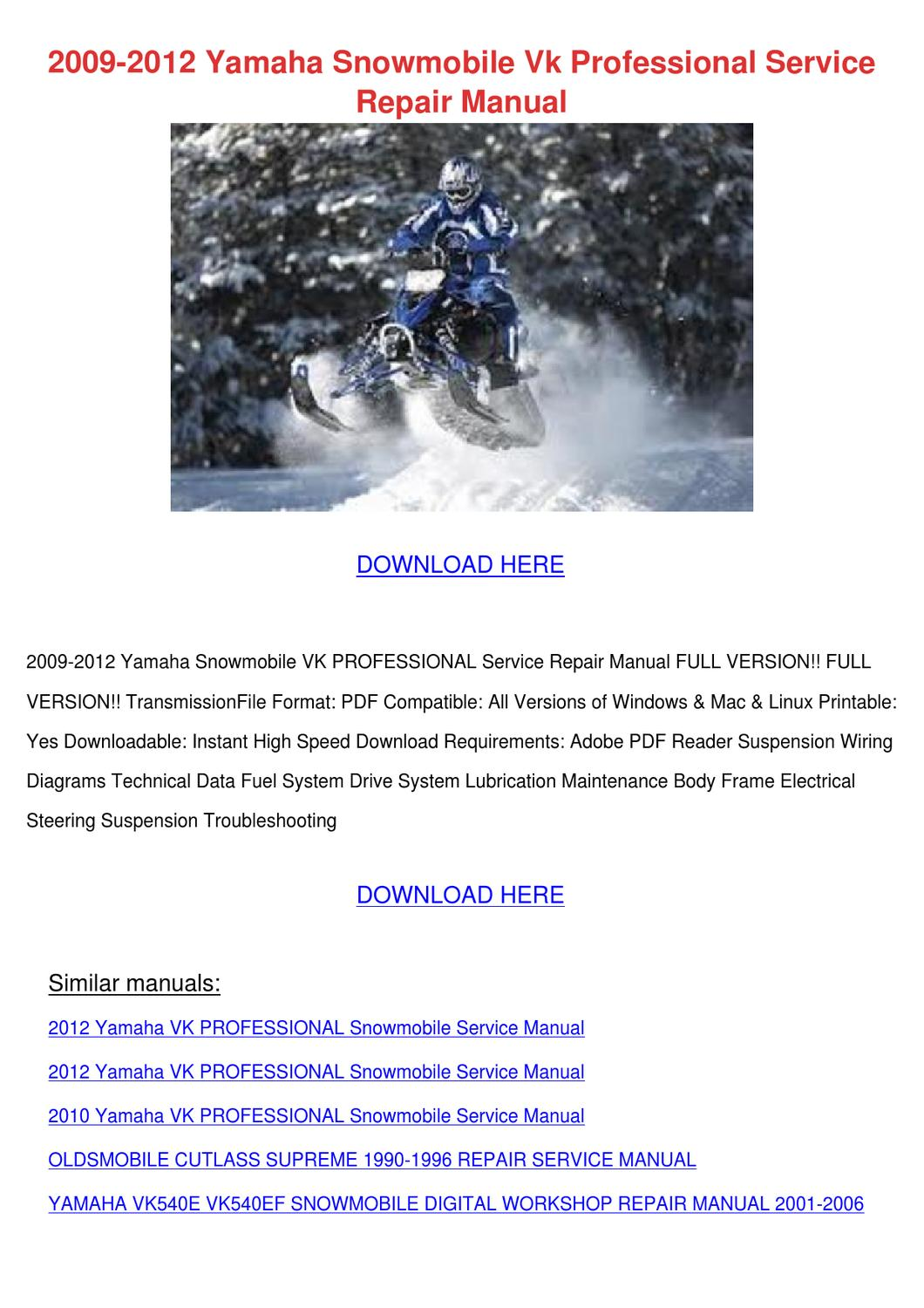 2009 2012 Yamaha Snowmobile Vk Professional S by ElviraDelgadillo - issuu