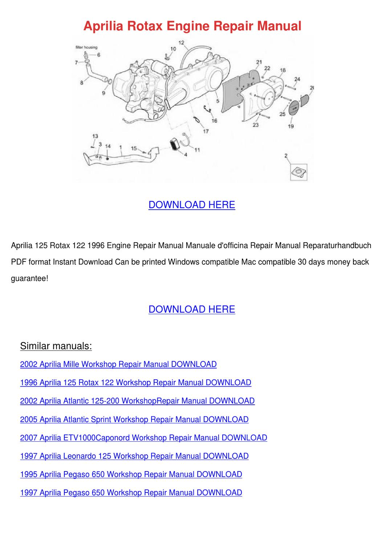 Aprilia Rotax Engine Repair Manual by DelbertCochran - issuu