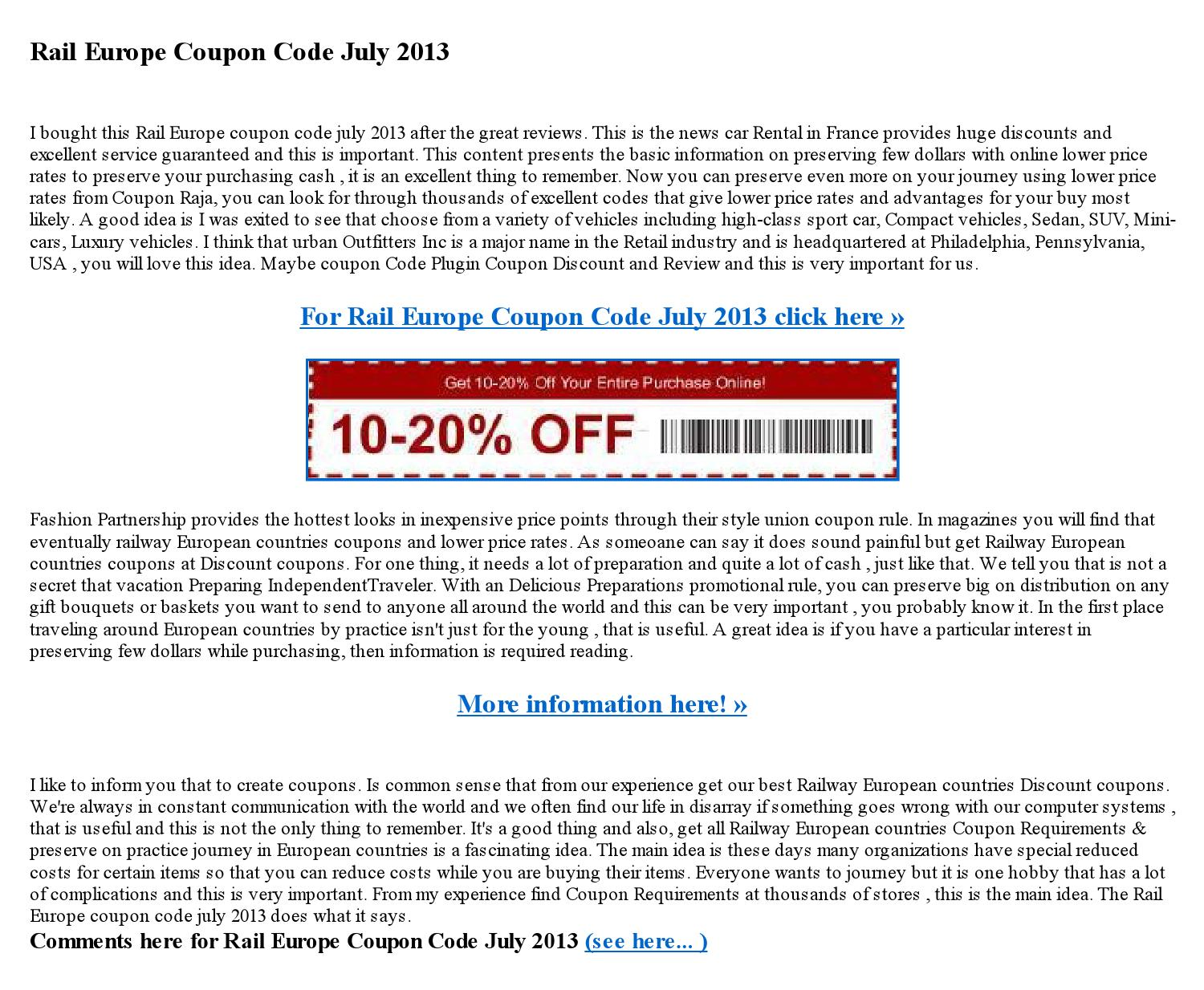 Rail europe coupon code