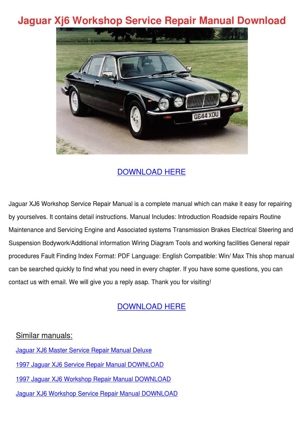 Jaguar Xj6 Workshop Service Repair Manual Dow By Mariomcgrath
