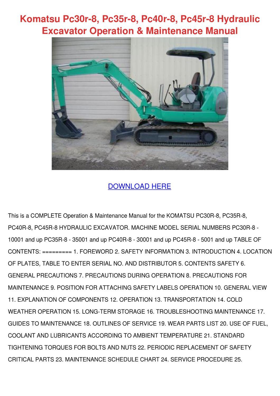 Komatsu Pc30r 8 Pc35r 8 Pc40r 8 Pc45r 8 Hydra by