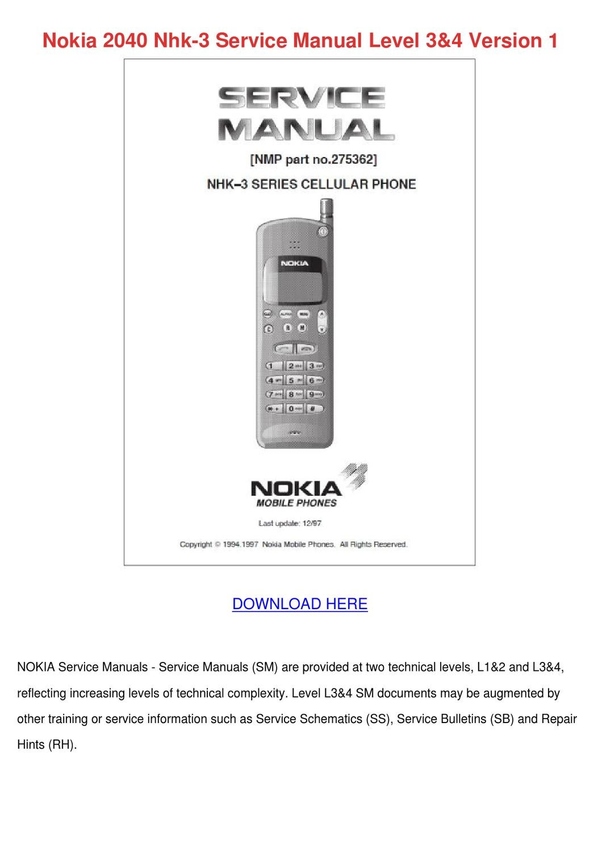 Nokia 2040 Nhk 3 Service Manual Level 34 Vers by SherrillSchwartz - issuu