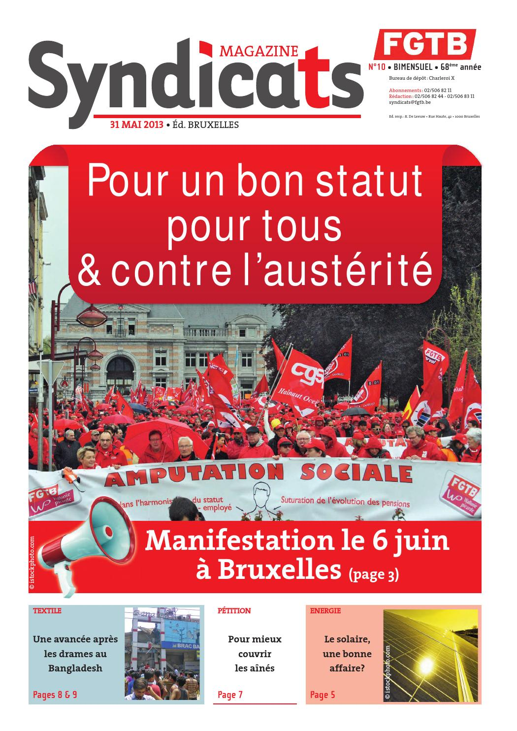 Syndicats FGTB n°10 - 31 mai 2013 by FGTB - issuu