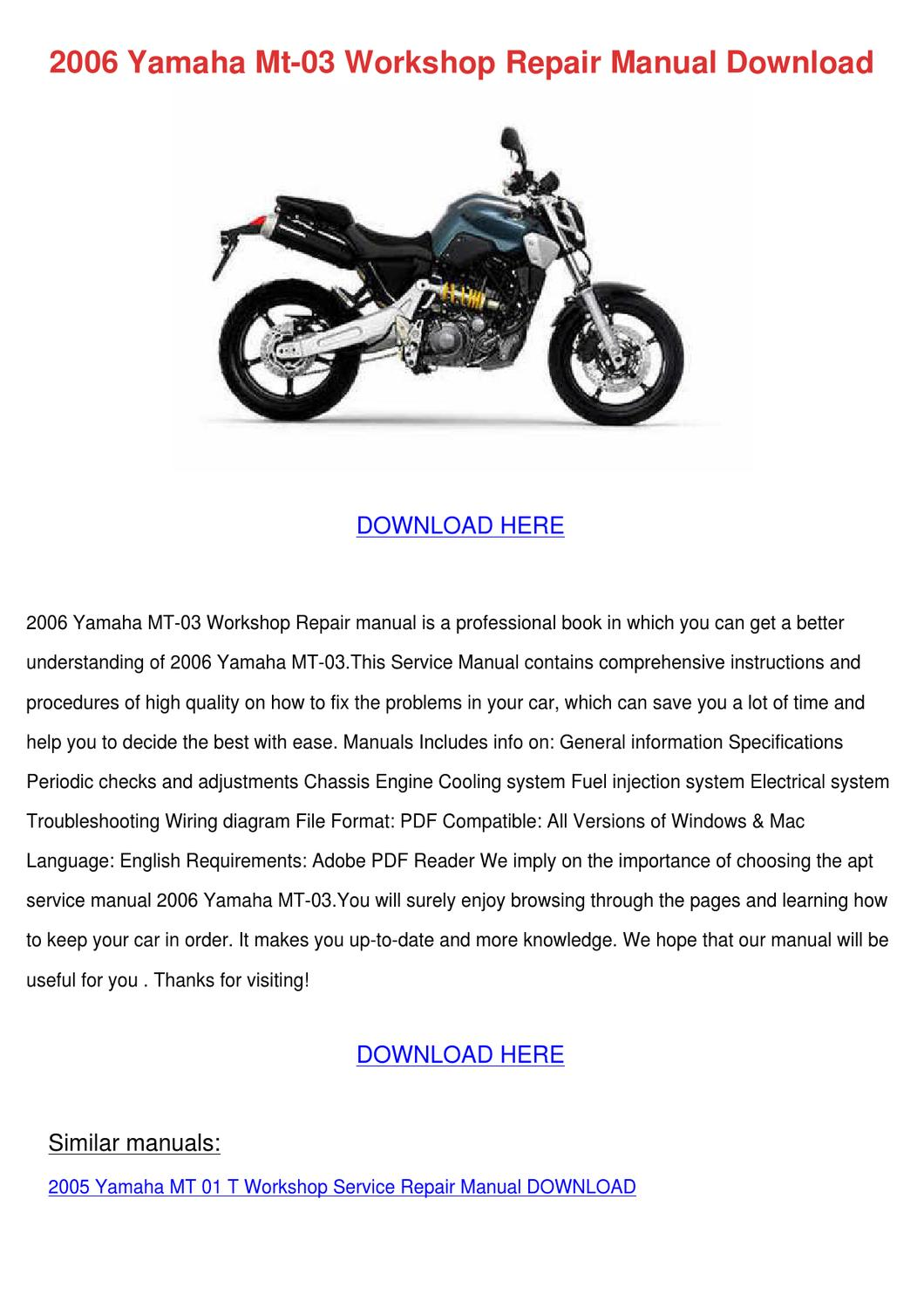 2006 Yamaha Mt 03 Workshop Repair Manual Down By