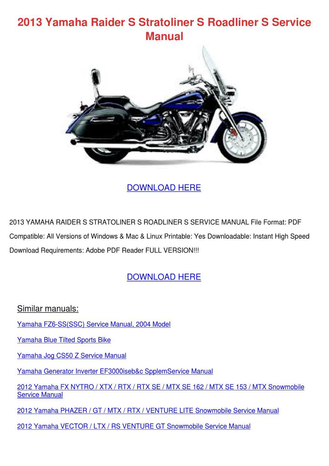 yamaha roadliner roadliner service manual xv19sw manuals yamaha roadliner  yamaha  roadliner xv19sw owner s manual pdf download
