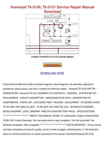 Kenwood Tk 3130 Tk 3131 Service Repair Manual by SashaSamuel
