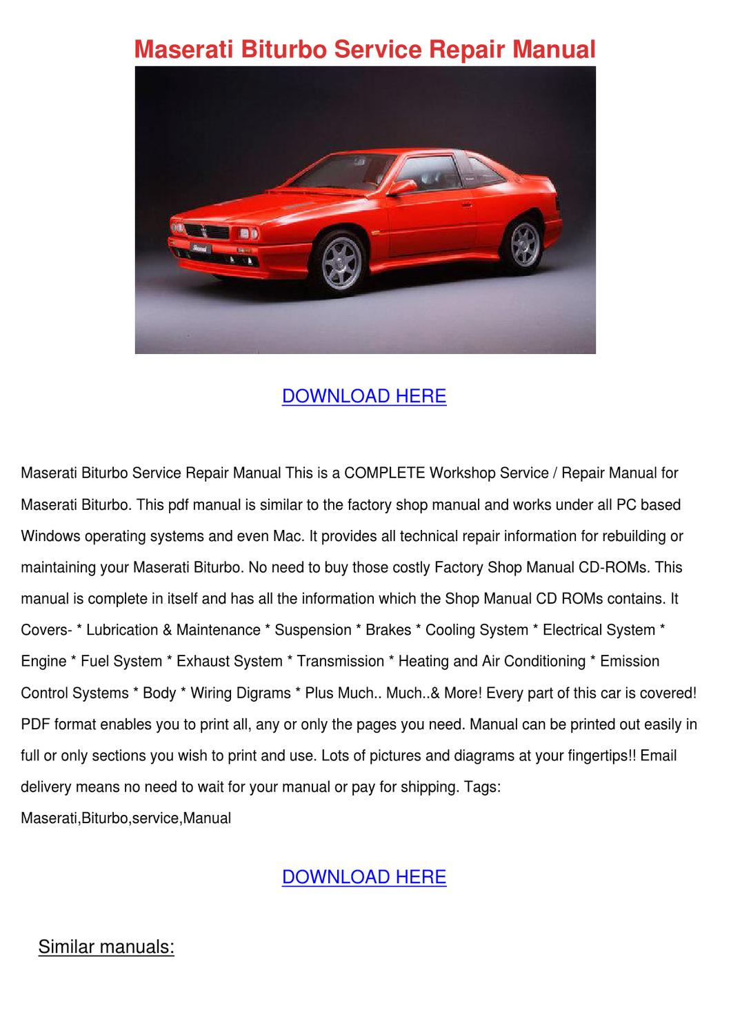 Maserati Biturbo Service Repair Manual By Jaysonharkins