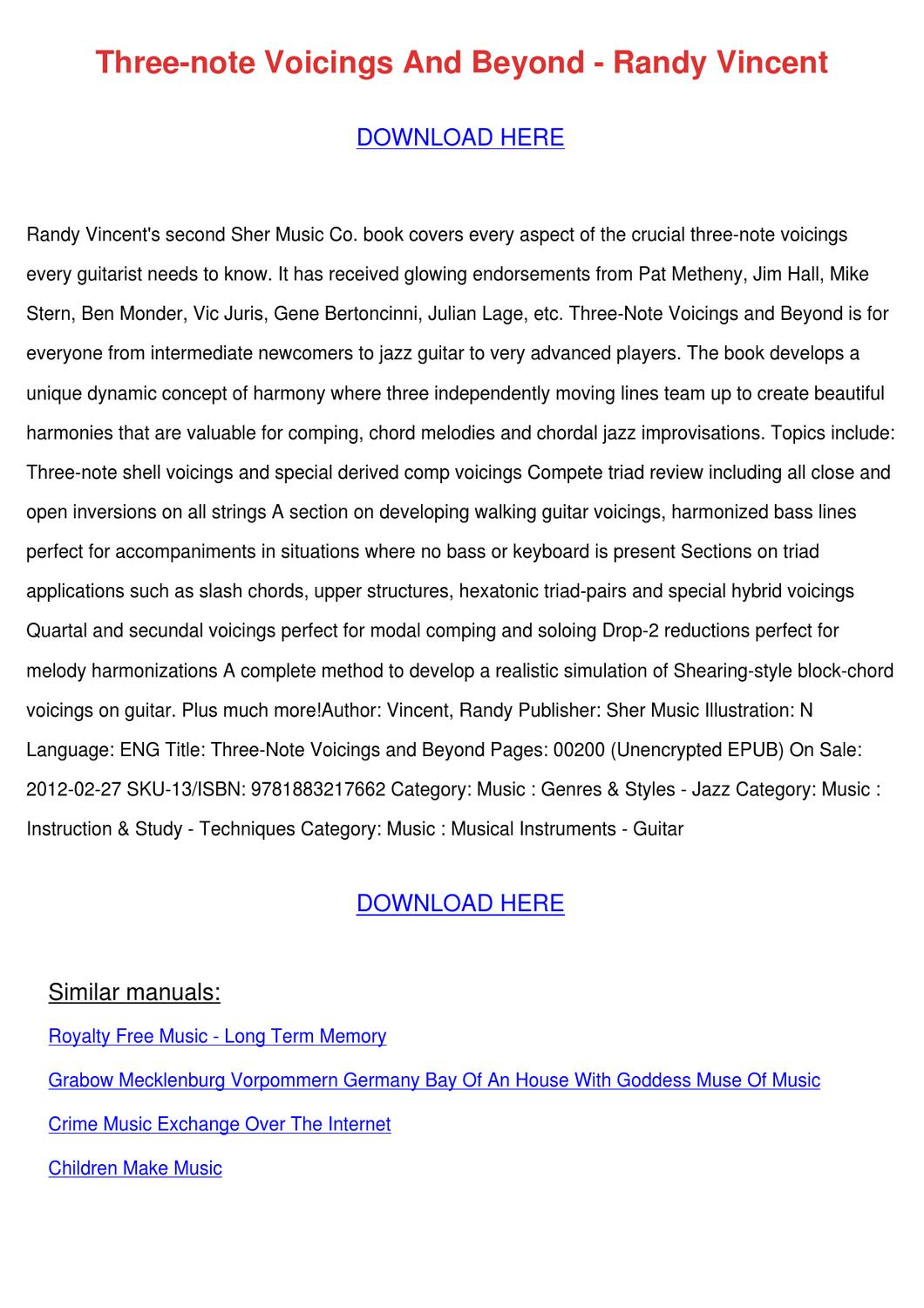 Three Note Voicings And Beyond Randy Vincent by VelvaRutter - issuu
