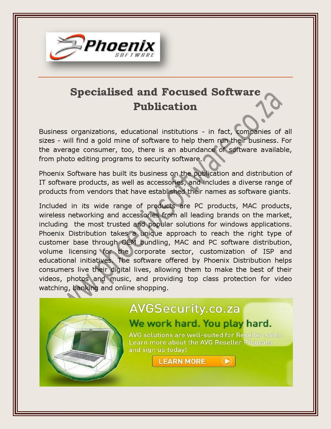 Specialised and Focused Software Publication by Marin Adward