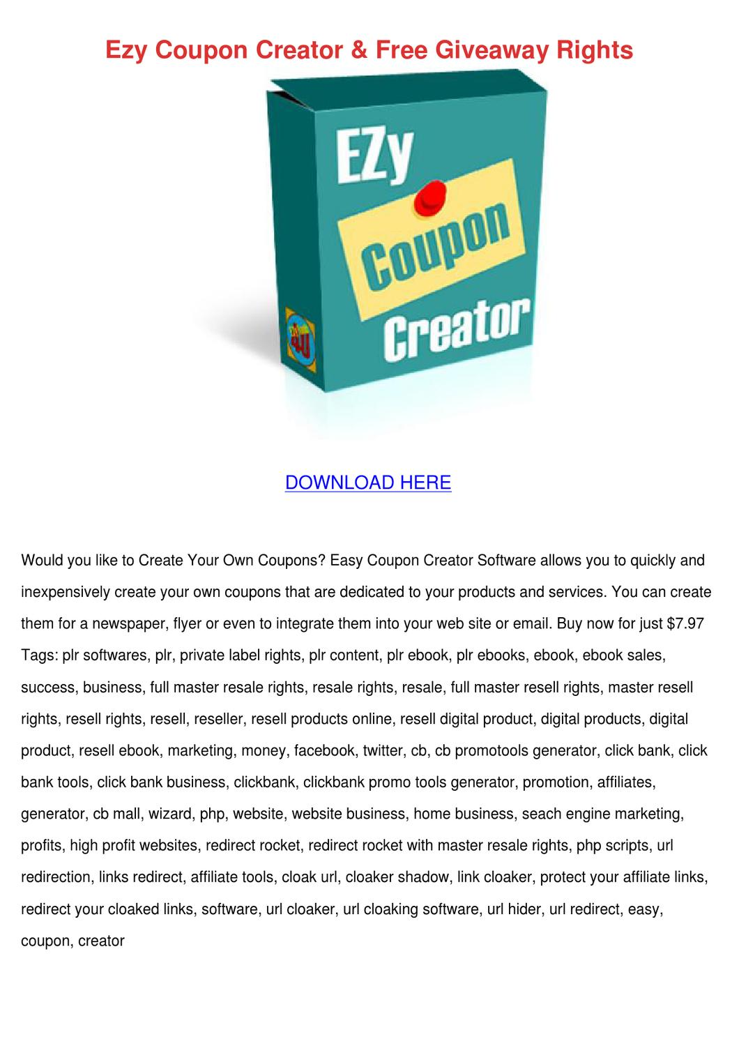 ezy coupon creator free giveaway rights by lucakeefe issuu