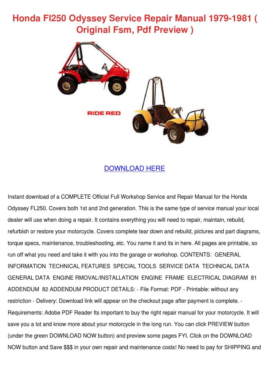 Honda Fl250 Odyssey Service Repair Manual 197 By