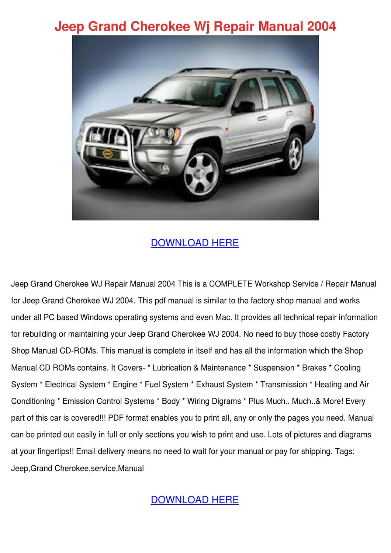 jeep grand cherokee wj repair manual 2004 by lucakeefe issuu. Black Bedroom Furniture Sets. Home Design Ideas