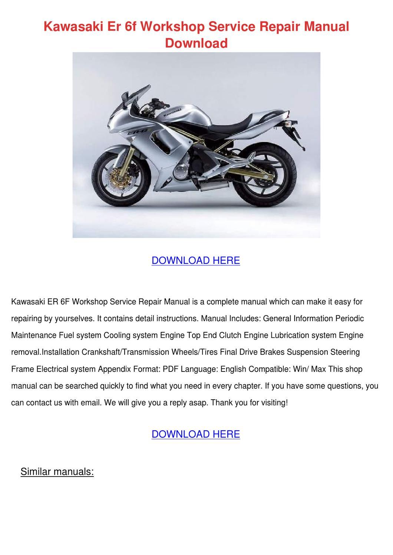Kawasaki Er 6f Workshop Service Repair Manual By Lucakeefe