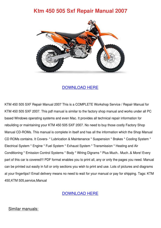 Ktm 450 505 Sxf Repair Manual 2007 By Lucakeefe
