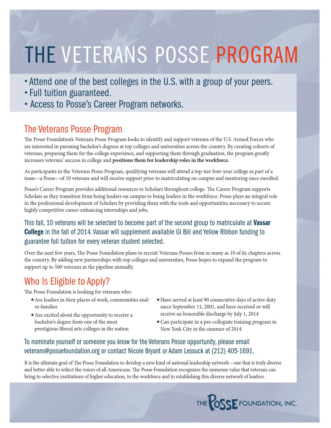 2013 veterans posse one pager by J1 Education - issuu