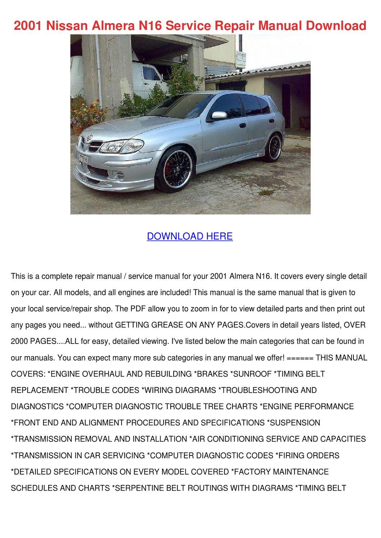 2001 Nissan Almera N16 Service Repair Manual By