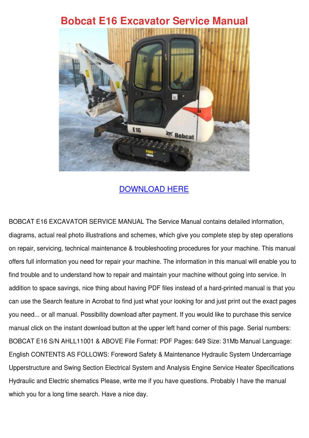 Bobcat E16 Excavator Service Manual by DonnyCollette - issuu