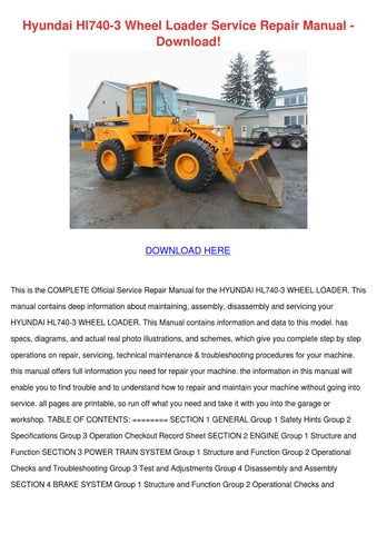 hyundai hl740 3 wheel loader service repair m by lankidd. Black Bedroom Furniture Sets. Home Design Ideas