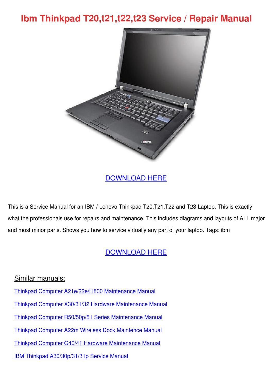 Ibm Thinkpad T20t21t22t23 Service Repair Manu By Lankidd