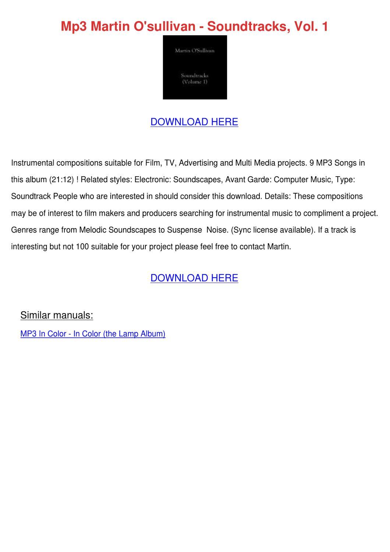 Mp3 Martin Osullivan Soundtracks Vol 1