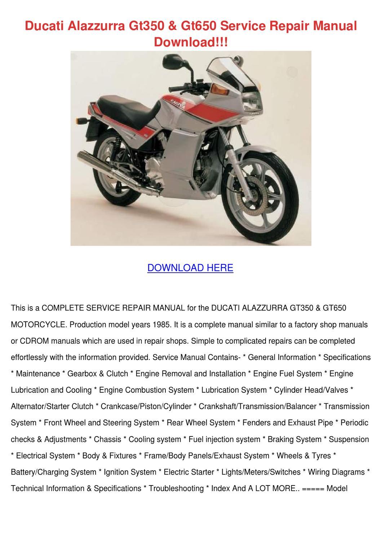 Ducati Alazzurra Gt350 Gt650 Service Repair M By
