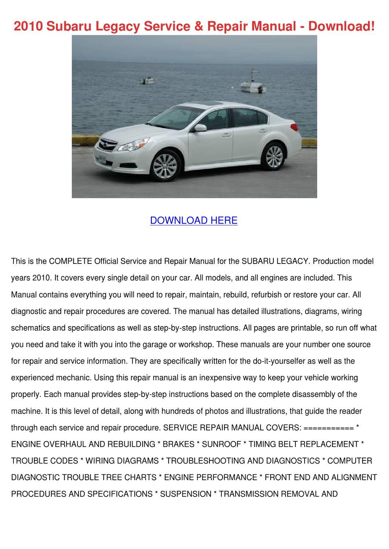2010 Subaru Legacy Service Repair Manual Down By Israelcrayton Issuu B4 Timing Belt Diagram