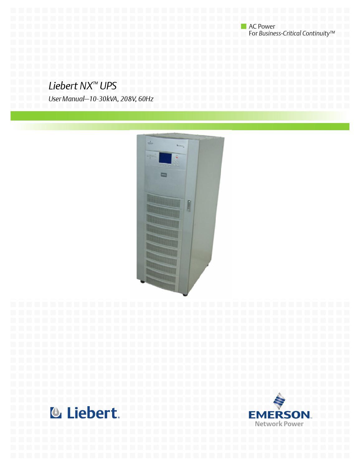 manual de usuario ups liebert modelo nx de 10 15 20 y 30 kva a o rh issuu com Emerson Fan Wiring Diagrams Emerson Electric Motor Diagram