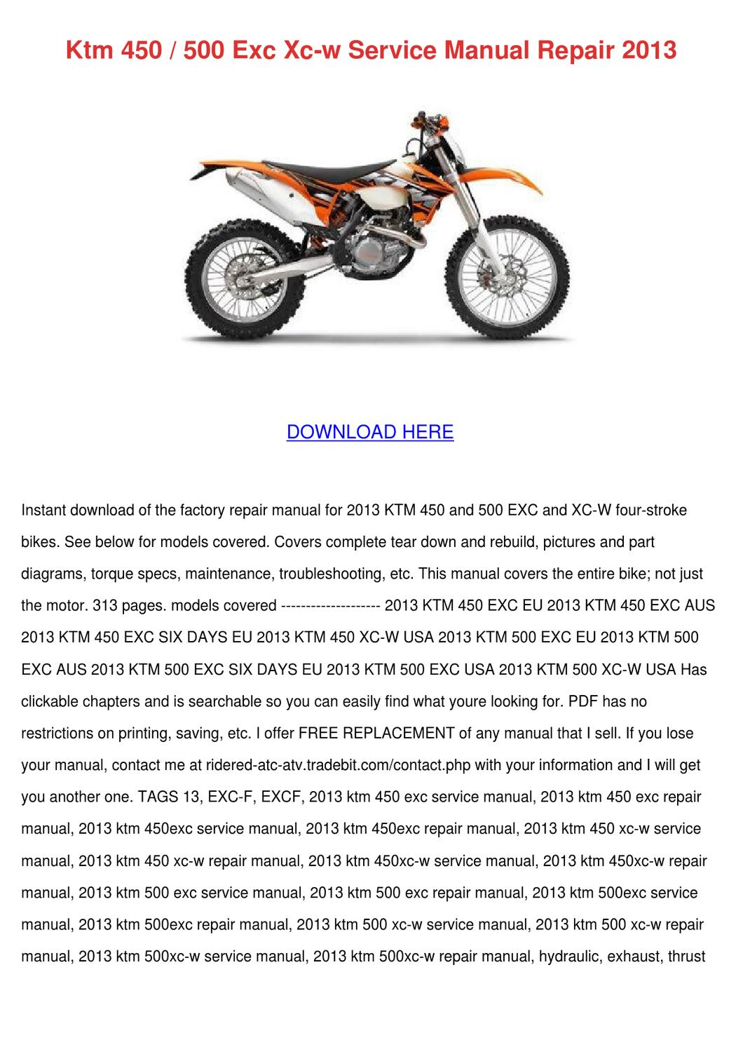 ktm 450 500 exc xc w service manual repair 20 by Ktm 500 Exc Service Manual