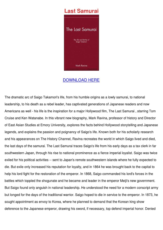 mark ravina s the last samurai essay research paper sample   june  book review the last samurai the life and battles of saigo takamori by  mark