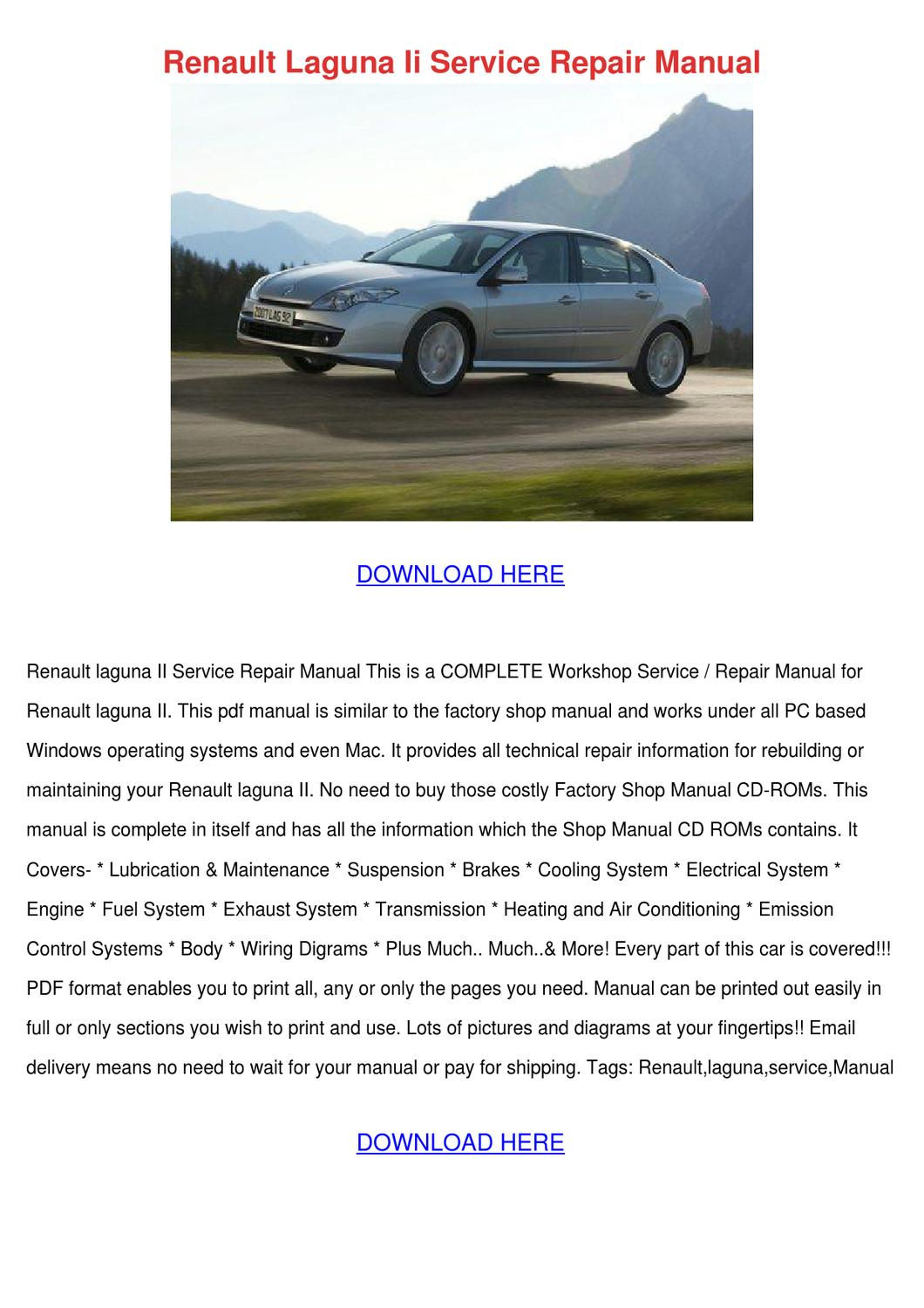 Renault Laguna Ii Service Repair Manual By Ashtonsnipes