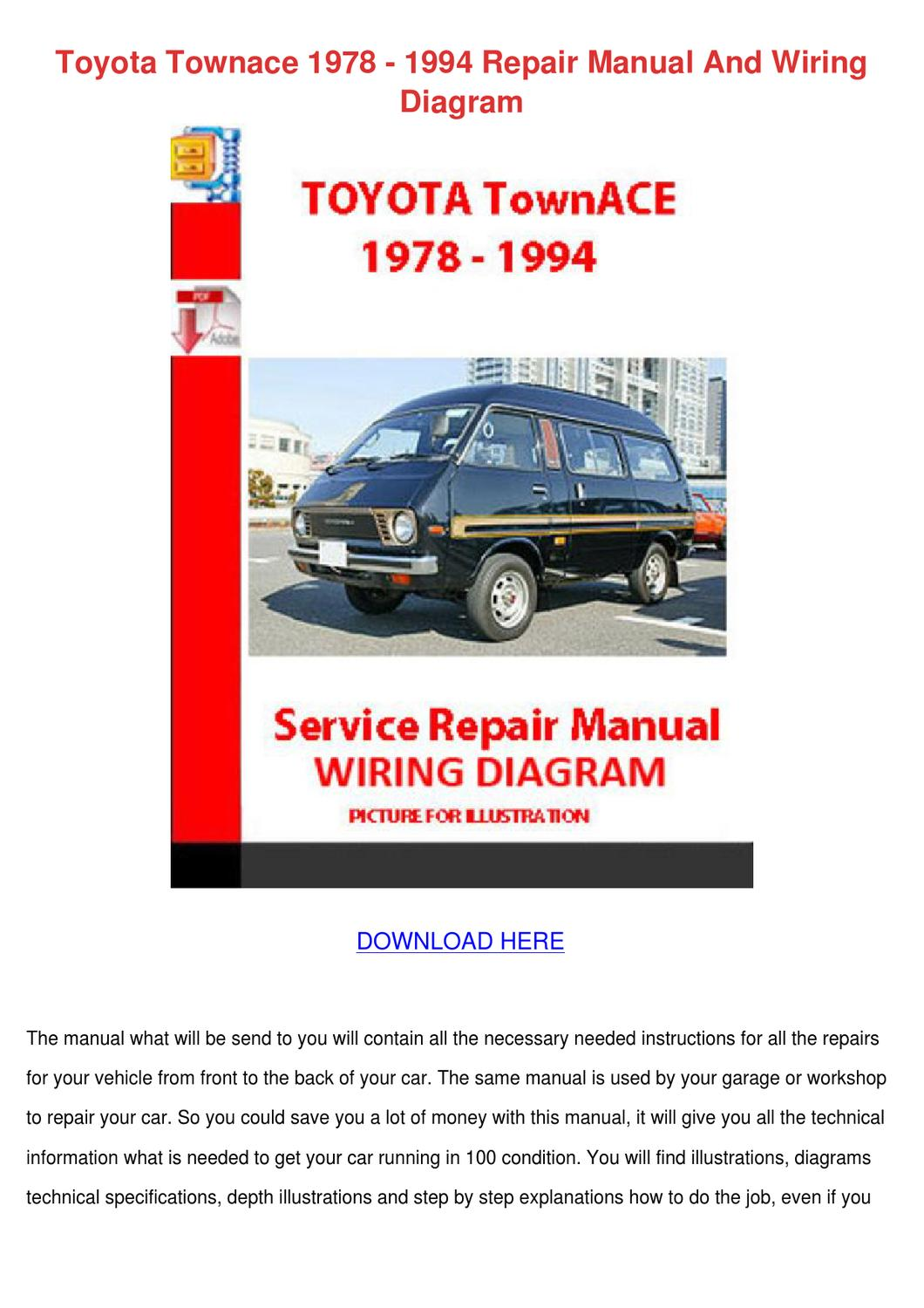 Toyota Townace 1978 1994 Repair Manual And Wi by SantosRogers - issuu