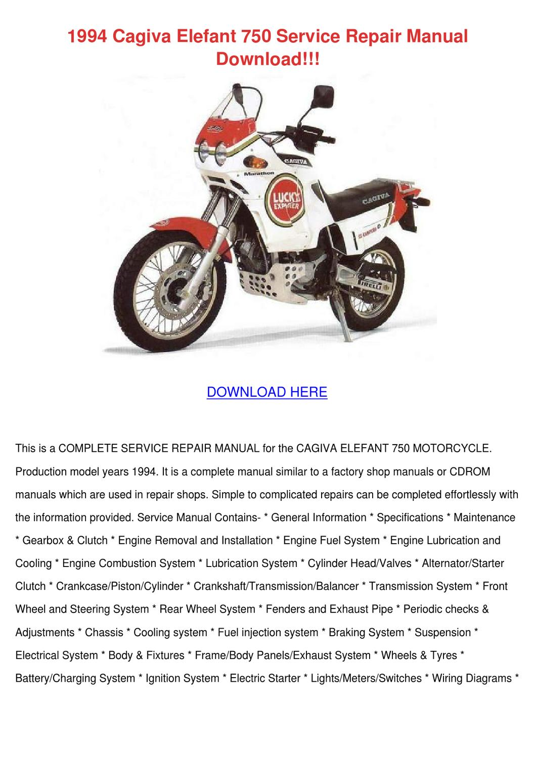 1994 cagiva elefant 750 service repair manual by deborahcarrion issuu rh issuu com cagiva elefant 125 wiring diagram cagiva elefant 125 wiring diagram