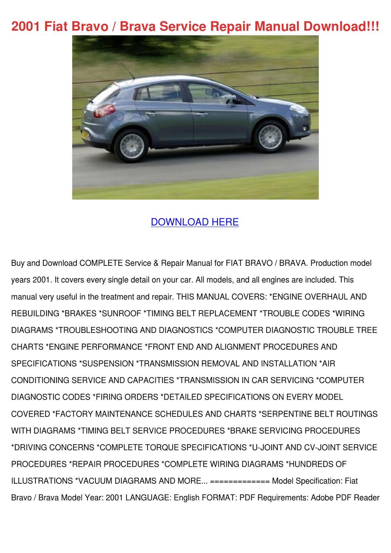 2001 Fiat Bravo Brava Service Repair Manual D By
